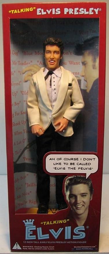 Amazon Com Elvis Presley Figura De Accion De Conversacion Elvis Vestida Con Traje Blanco Chamarra Y Pantalones De Negro De Variedad International Toys Games