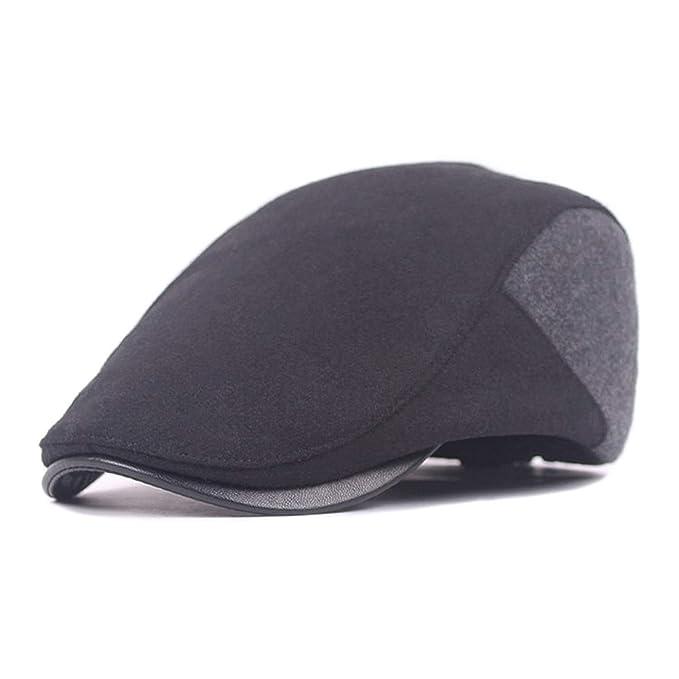 Men Cotton Washing Flat Cap Cabbie Hat Gatsby Ivy Caps Irish Hunting Hats  Newsboy with Stretch fit (Black)  Amazon.es  Ropa y accesorios fe46f08cf0bb