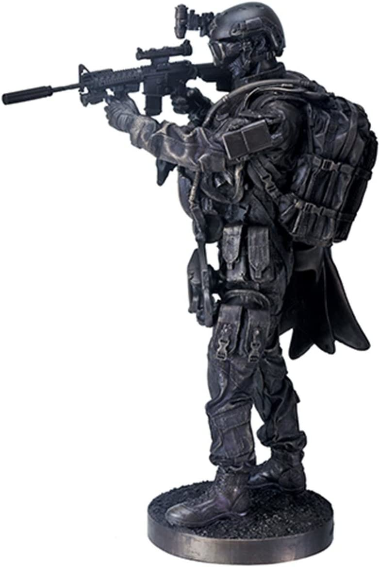 YTC 12.5 Inch Black Navy Seals Figurine Standing with Rifle and Full Gear