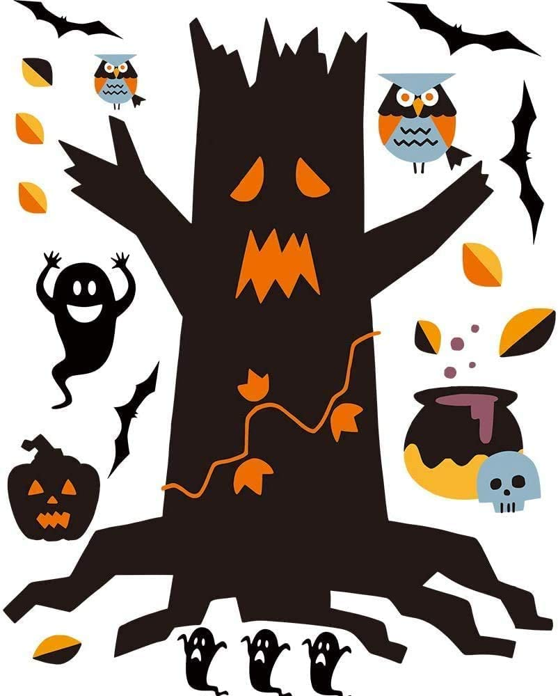 STEFORD Halloween Window Clings,146PCS Halloween Decoration Decals Window Glass Stickers for Halloween Party Decorations Supplies