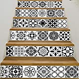 Tuscom 6 Pcs DIY European Creative 3D Stair Sticker|Removable Stair Sticker Home Decor Ceramic Tiles Patterns (4 Style 18x100cm) (B)