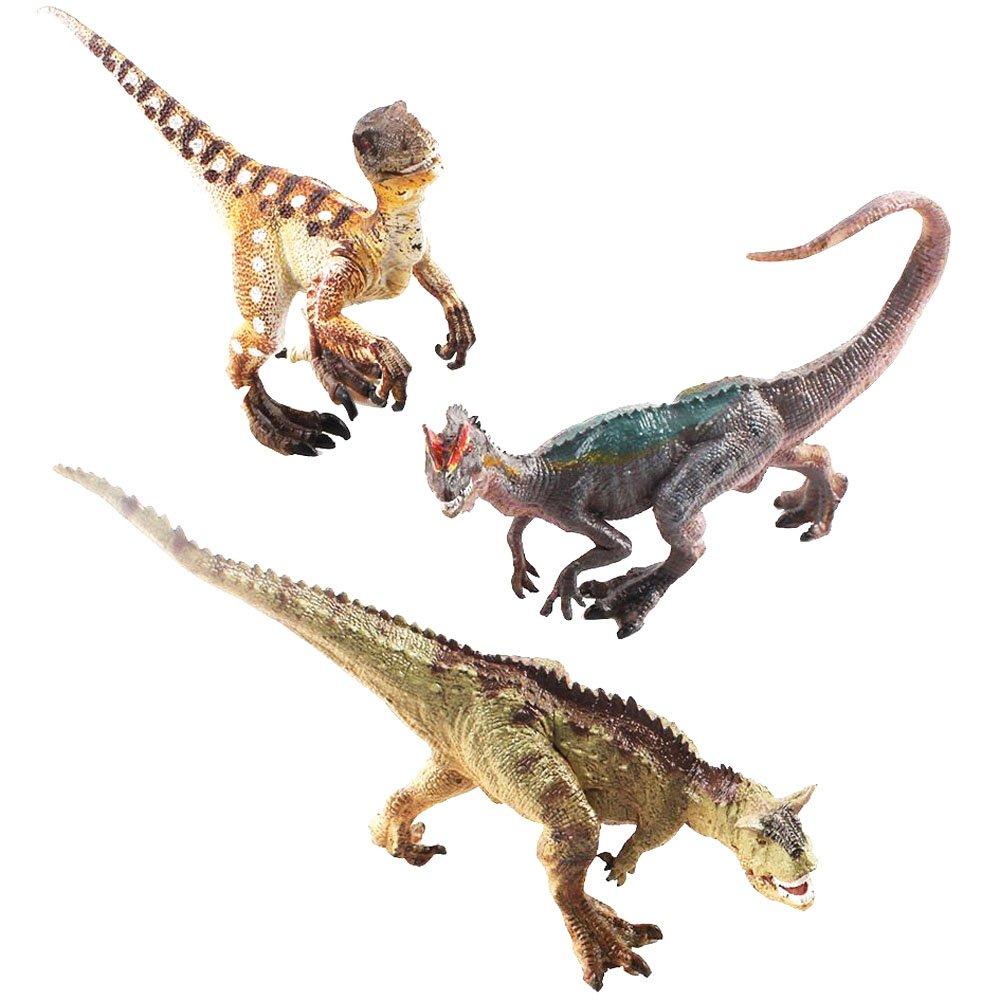 (DINO-6) deAO DINOSAURES DE JOUET (Carnotaurus, Dilophosaurus and Velociraptor)