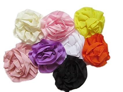 Amazon Yycraft 3 Handmade Satin Silk Hair Flower For Diy Baby