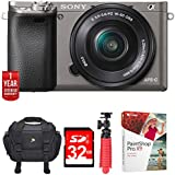 "Sony Alpha a6000 24.3MP Grey Interchangeable Lens Camera + 16-50mm Lens (ILCE6000L/H) w/32GB Bundle Includes, Digital Camera Padded Carrying Case +12"" Rubberized Spider Tripod +32GB SDHC Memory Card"