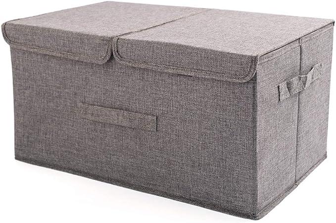 Zfggd Cajas de almacenamiento con tapas Cubo Caja de almacenamiento con asas, Caja de almacenamiento plegable de tela de algodón, Contenedores de almacenamiento Cestas para ropa Juguetes DVDs Arte y l: Amazon.es: