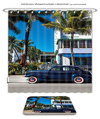 Minicoso Bath Two Piece Suit: Shower Curtains and Bath Rugs Classic American Car On South Beach Miami Shower Curtain and Doormat - South Miami Macy's Beach