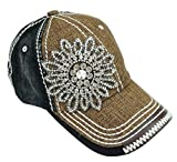 Olive & Pique Women's Bling Two-Tone Baseball Cap Brown/Gunmetal Clear, One Size