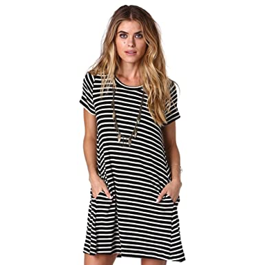 08382cbc46b Women Preppy Style Classic Stripe Casual T shirt Dress Pocket at ...