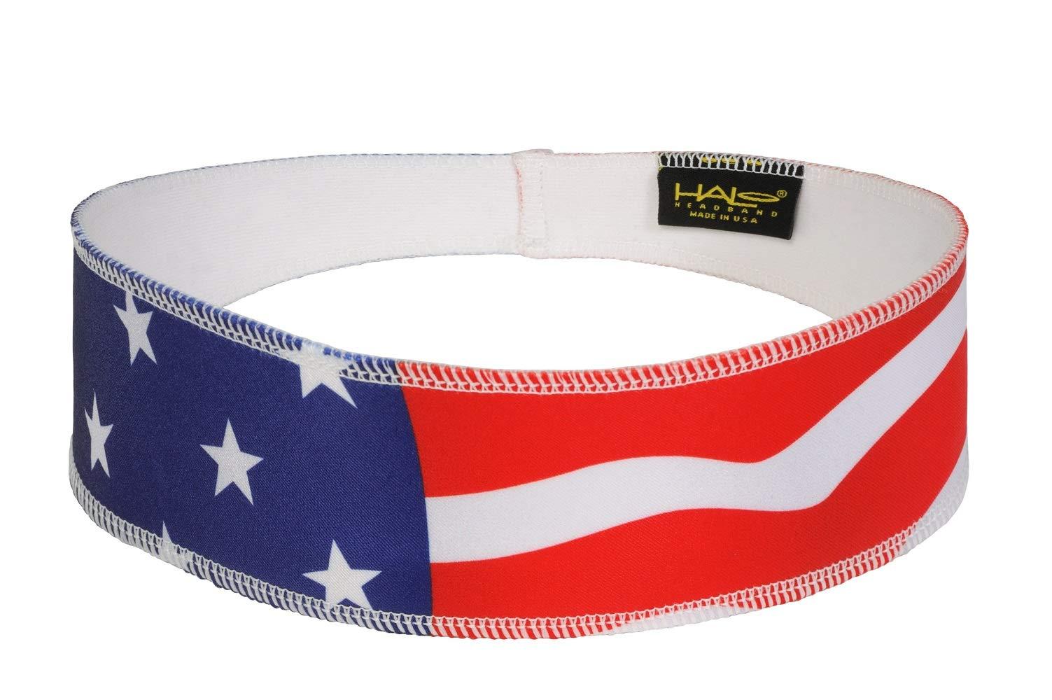 Halo II Headband Sweatband Pullover USA Flag by Halo Headbands