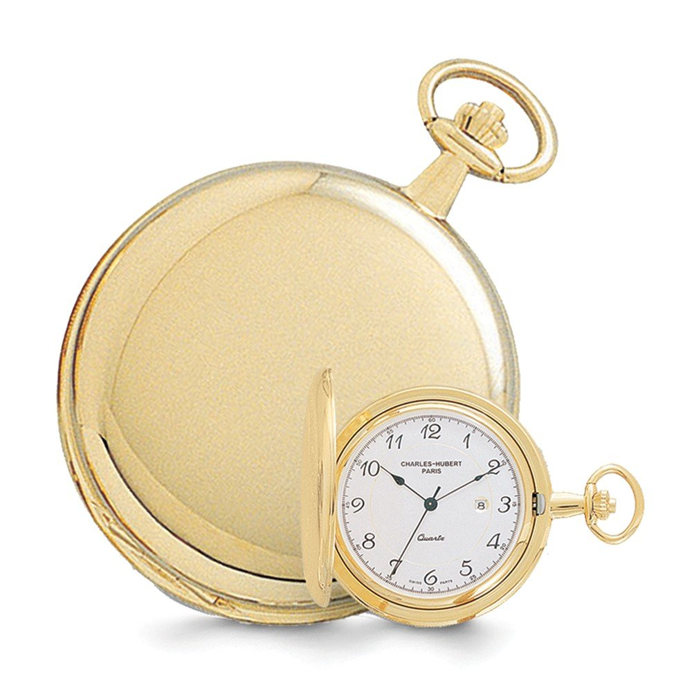 Jewelry Best Seller Charles Hubert 14k Gold Finish White Dial with Date Pocket Watch