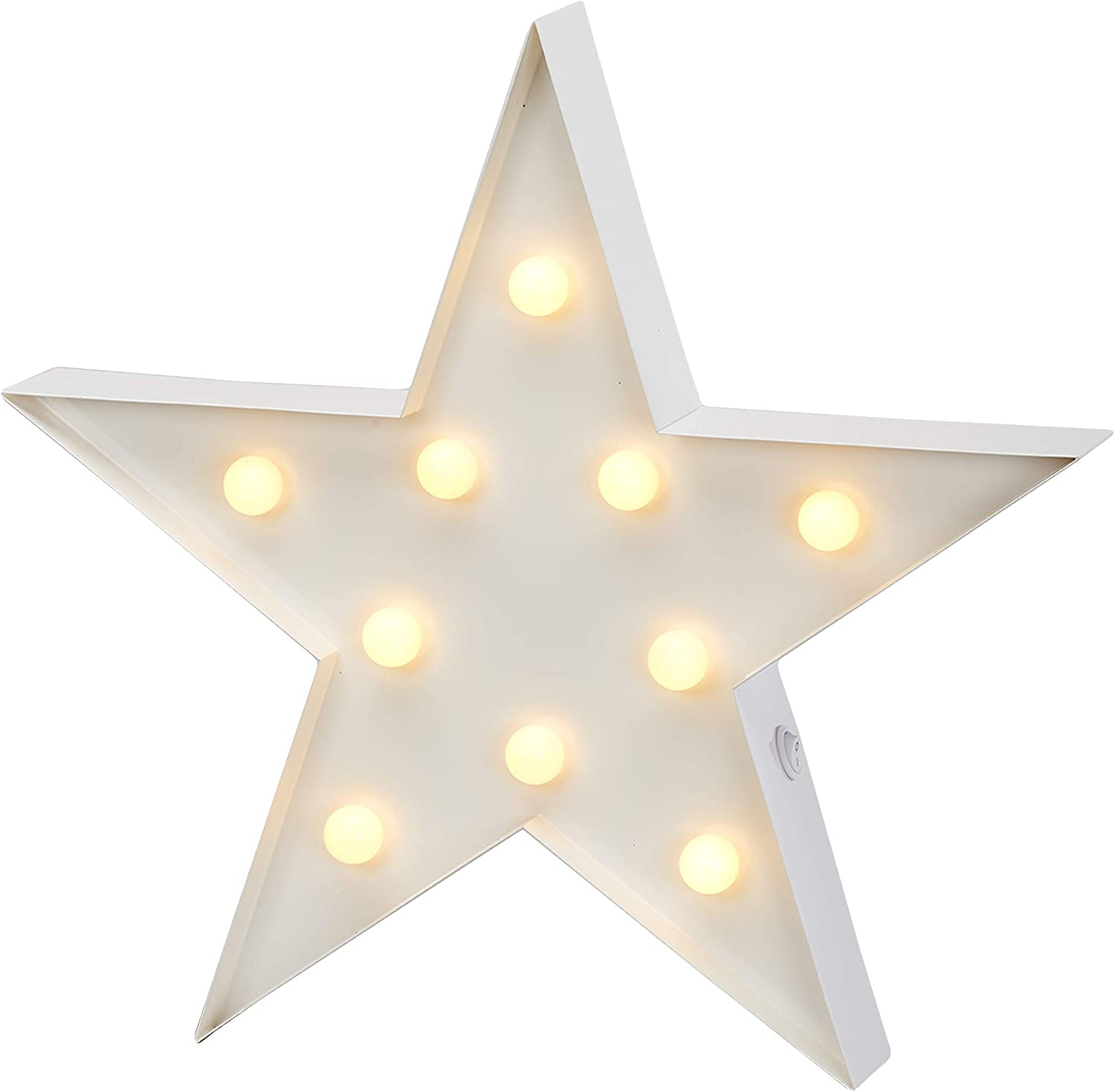 """Barnyard Designs Metal Marquee Star Sign Light Up Wall Initial Wedding, Bar, Home and Nursery Letter Decoration 12"""" (White)"""