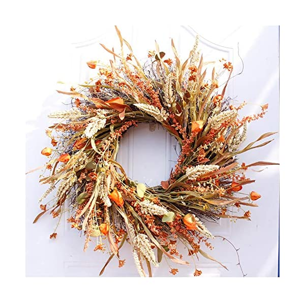 Bling Fall Wreath with Leaf, Wheat, Flowers, Fall Front Door Wreath for Front Door Decor Thanksgiving Harvest Autumn Home Decoration