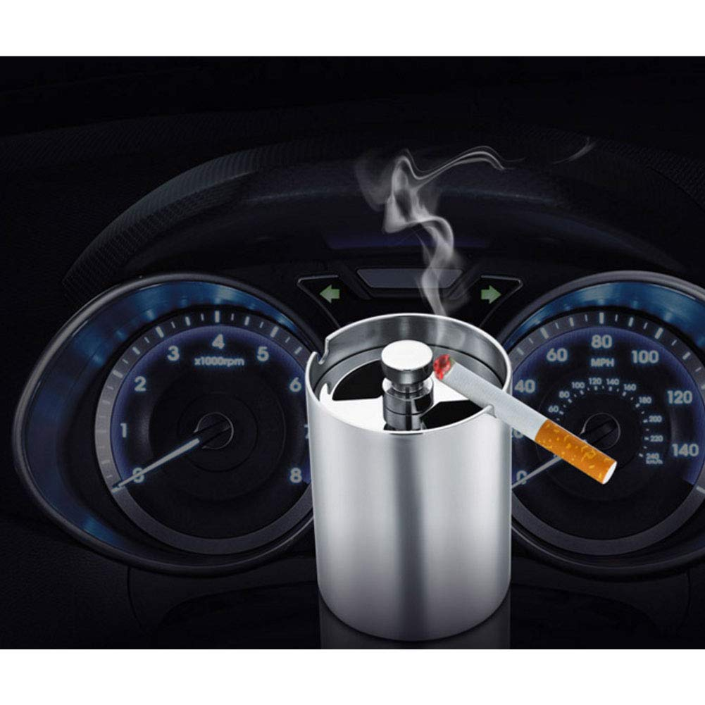 NACHEN Car Ashtray Stainless Steel Sealed Portable Cigarette Ashtrays with Lid,Color1,6.3X8.6CM