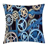 Ambesonne Clock Throw Pillow Cushion Cover, Technology Clock Gears Steel Cogwheels Pattern Mechanical Theme Design Print, Decorative Square Accent Pillow Case, 26 X 26 Inches, Blue and Sand Brown
