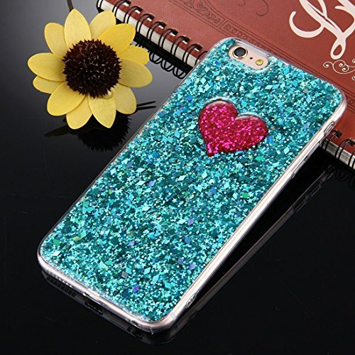 Für iPhone 6 Plus / 6s Plus, Green Glitter Powder Herz Pattern TPU Stoßfänger Schützende Hard Back Cover Case DEXING