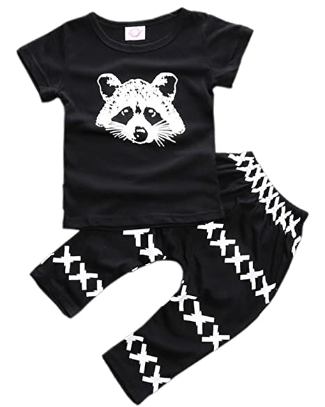 071931009 ZHUANNIAN Baby Boys Clothes 2PCS Outfit Set T-Shirt Tops with Patterned  Pants(Black