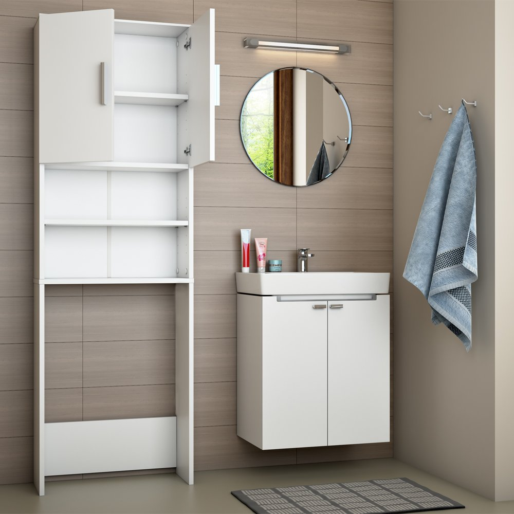 Estantería para baño armario alto lavadora superestructura blanca ...
