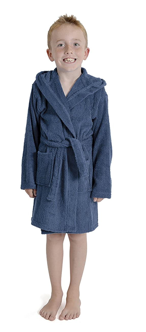 50d2d0f3c9 Aumsaa Boys Children Dressing Gown Hooded Towelling Bathrobe 100% Cotton  Terry Towel Bath Robe Soft Towling Lounge Wear 7-13 Years  Amazon.co.uk   Clothing