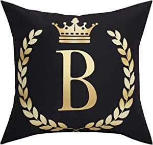 Black Pillow Cover Throw Pillow Case English Alphabet B Throw Pillow Case Modern Cushion Cover Square Pillowcase Decoration for Sofa Bed Chair Car 18 x 18 Inch