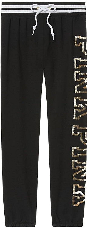Black Gold Sequin Small Victorias Secret Pink Bling Classic Pant Sweatpant