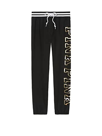 8e3c551f51717b Victoria's Secret Pink Bling Classic Pant Sweatpant, Black Gold Sequin,  Small