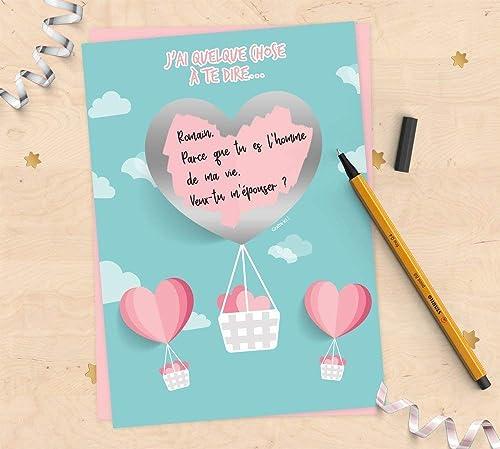 Carte à Gratter à Personnaliser Pour Demande En Mariage Pacs Déclaration Damour Fiançailles Montgolfière En Cœur Pour Saint Valentin