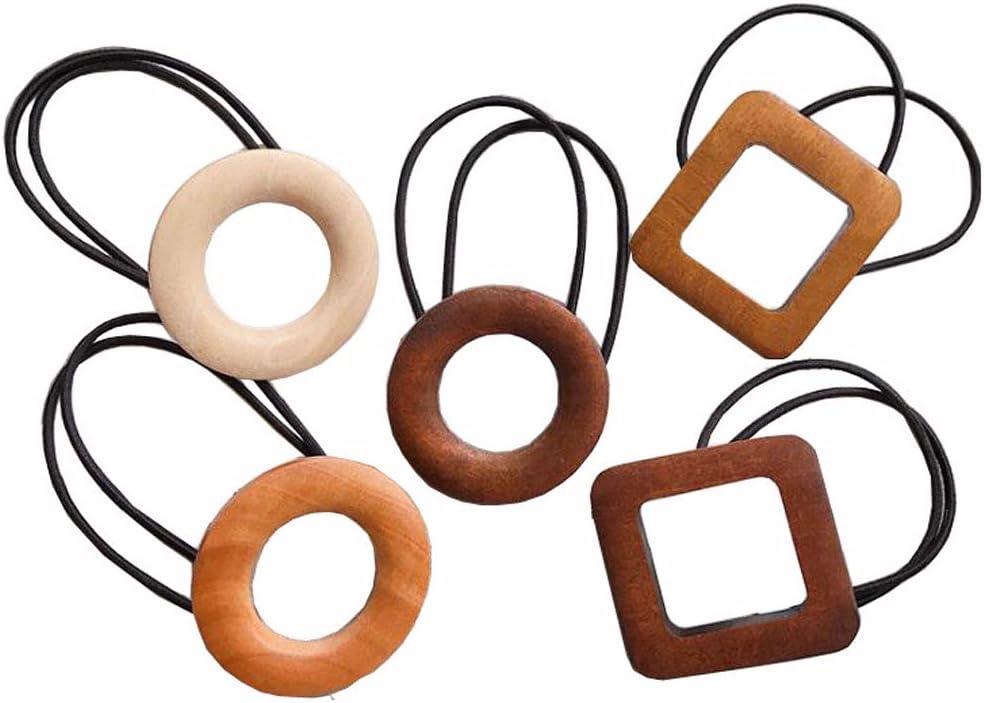 5 Unids Simple Madera Retro Geométrica Cuerda de Pelo Elástico Cabello Círculo Accesorios para el Cabello Cola de Caballo Titular Coleteros para Dama Niñas