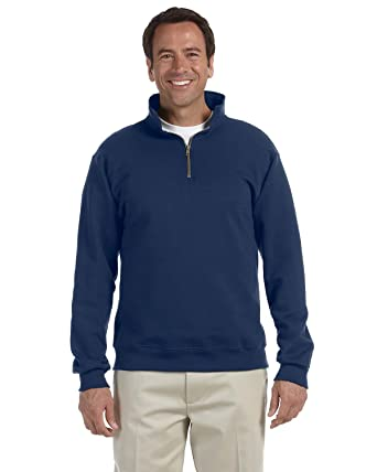 ad9c0a07e12 Jerzees Adult Super Sweats Quarter-Zip Cadet Collar Sweatshirt (J Navy)  (Medium
