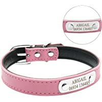 Didog Adjustable Leather Padded Custom Dog Collar with Engraved Nameplate,Fit Cats and Small Medium Dogs,Pink,S Size