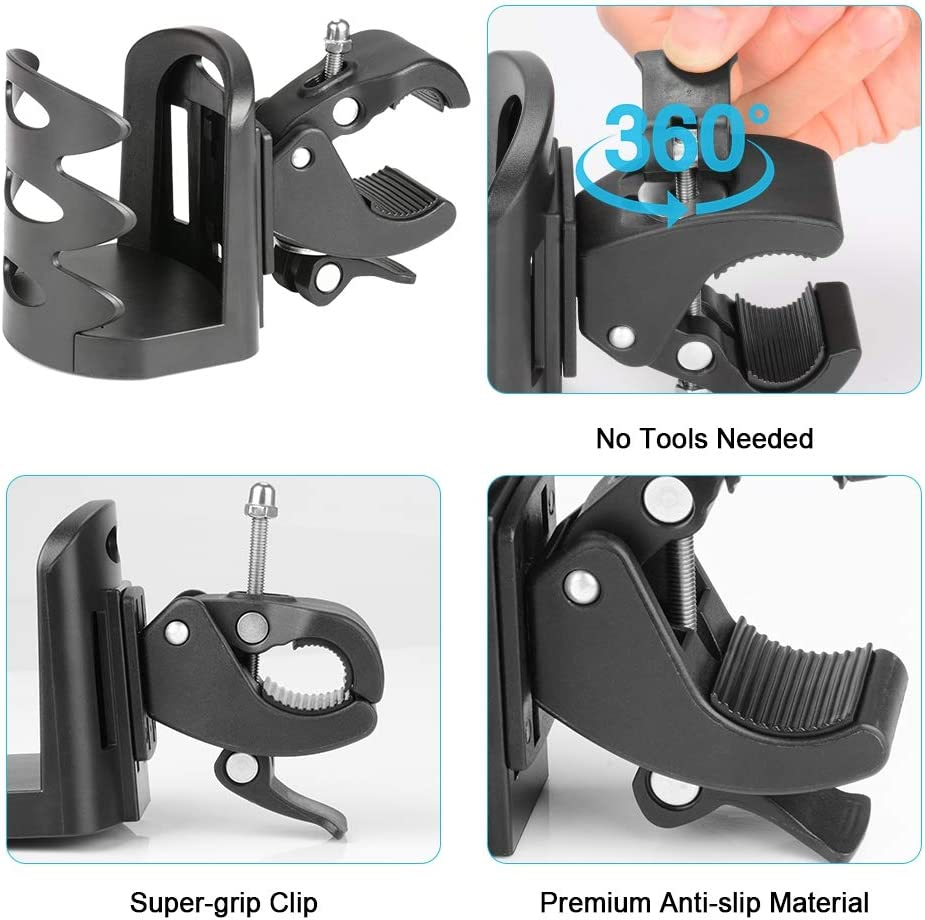 SupreGear Cup Holder Tools Free Strollers and Motorcycle Accessories Wheelchairs Universal for Walkers 360 Degree Rotation Stroller Bike Water Bottle Holder Cup Holder Rollators Bicycles