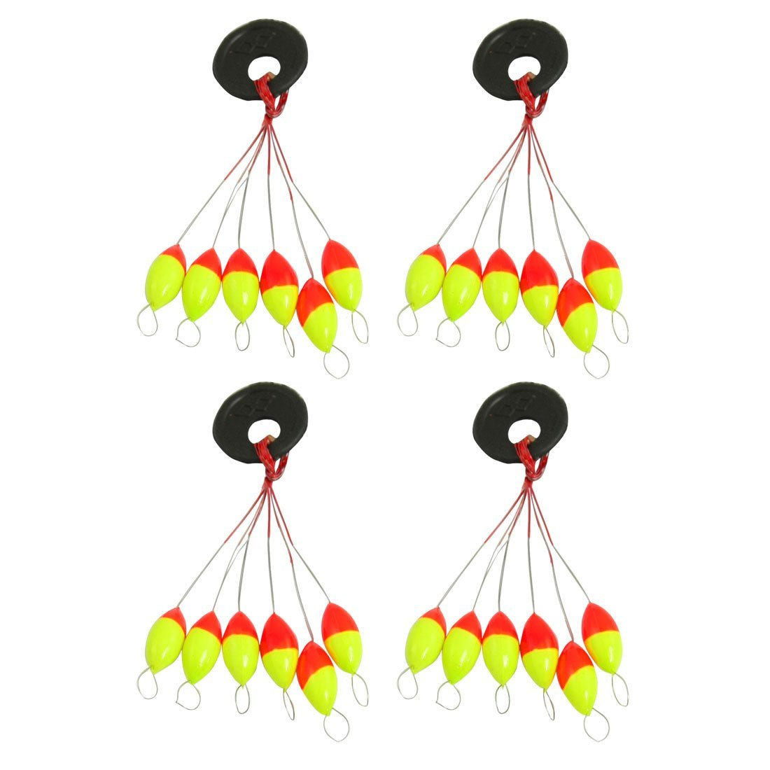 SODIAL(R) 4 Pcs Yellow Red Plastic 6 in 1 Fishing Bobber Stopper Sz 3