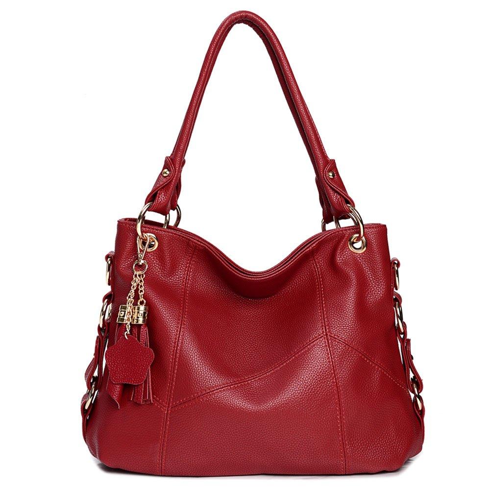 Vintga Genuine Leather Tote Bag Top Handle Satchel Handbag Tassel Shoulder Bag Large Purse Crossbody Bag for Women (Red Wine)