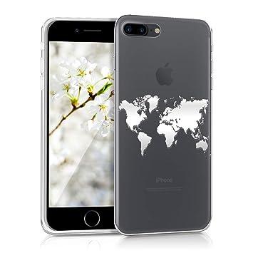 kwmobile Funda para Apple iPhone 7 Plus / 8 Plus - Carcasa protectora de {TPU} con diseño de mapa del mundo en {plata / transparente}