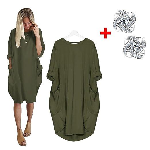 Womens Fashion Pocket Women Loose T Shirts Home Long Shirt Mini