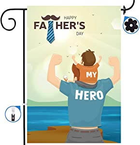 Gegewoo Happy Fathers Day Hero Dad Double Sided Garden Yard Flag Dad's Hug Love Super Dad Greeting Dad's Holiday Beach House Flags Banner for Outdoor Home Decor Party