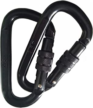 25KN Heavy Duty Auto Locking Rock Climbing Carabiner Snap Spring Clip Black