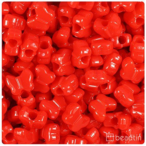 Butterfly Plastic Beads - BeadTin Bright Red Opaque 13mm Butterfly Pony Beads (250pcs)