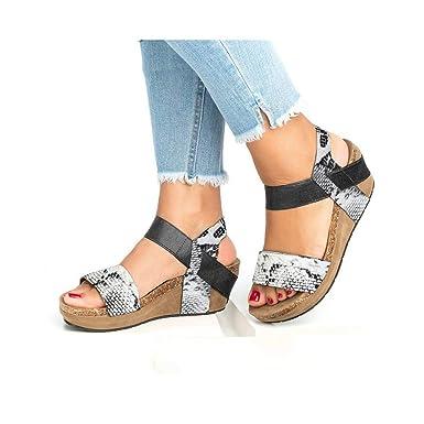 025578a108138d Success Femmes Été Mode Chic Sandales Talon Compensé Plateforme léopard  Femme Sexy Chaussures à lanières Sandales