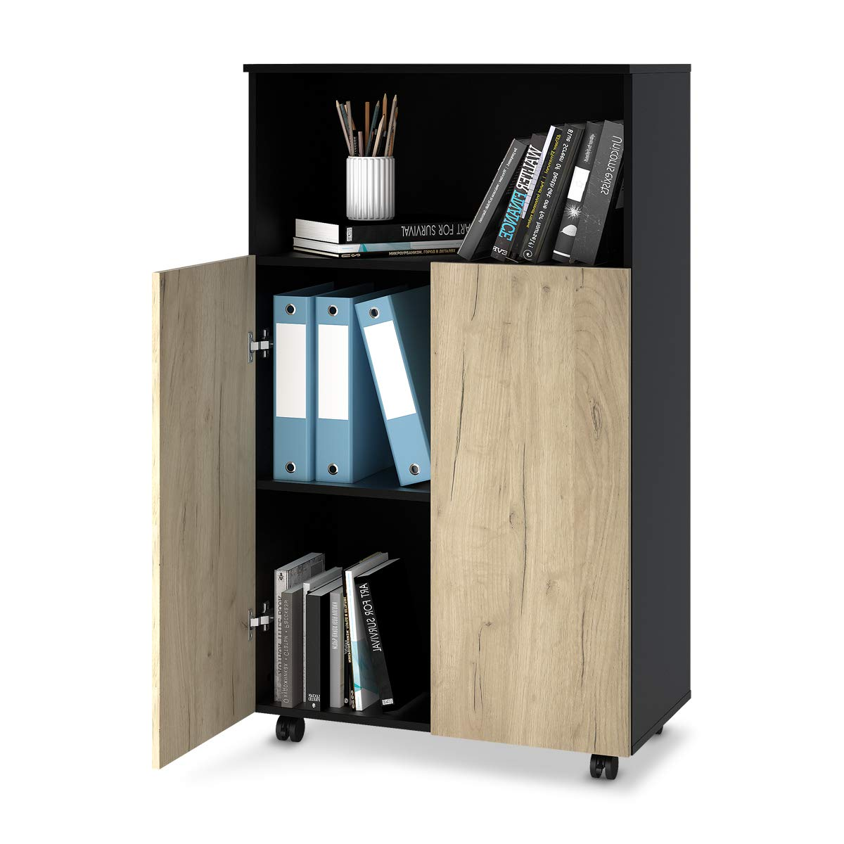DEVAISE Storage Cabinet with 2 Doors, Mobile File Cabinet with Adjustable Shelf
