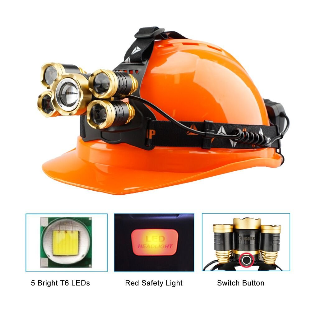 Brightest Headlamps Flashlight,with Rechargeable Lithium Battery,COSOOS Zoomable 4-Mode Work Head Flash Lights,LED Headlamps for Hardhat,Working,Helmet,Support AAA Battery by COSOOS (Image #3)