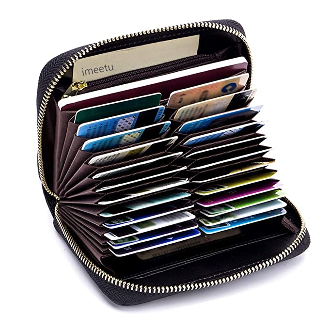 7d49001a931 imeetu Women men RFID Blocking Leather Credit Card Holder case Accordion  Wallet 24 Slots Purses