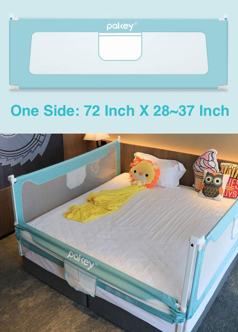 Goldenvalueable 72'' Vertical Collapsible Bed Rail Guard for Baby Toddlers and Kids (Green) (One Side)