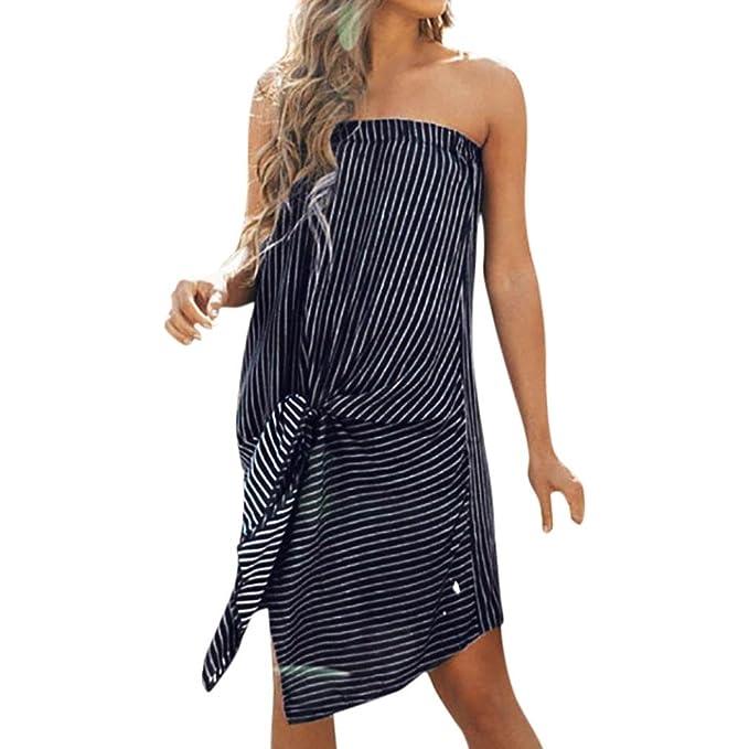 165beaeb03e ESAILQ Frauen Sommer sollte Schulter Boho gestreiften Langen Maxi Kleid  Abend Party Strand Kleider  Amazon.de  Bekleidung