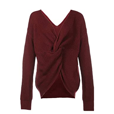 b1e0a2450c3e ENIDMIL Women Knitted Sweater V Neck Twisted Back Pullover Backless Batwing  Sleeve Loose (Wine