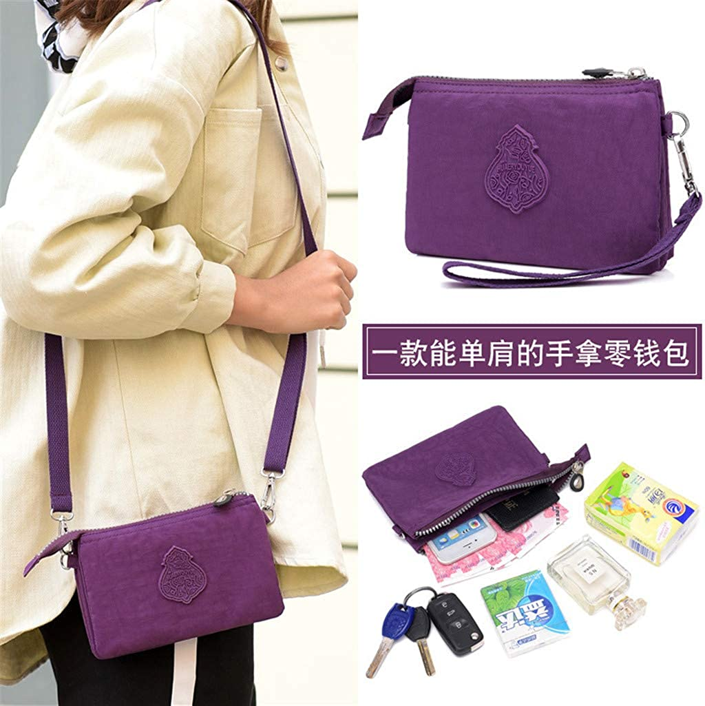 Dual Layer Zipper Purse Waterproof Nylon Wallet Handbag Cell Phone Pouch Coin Purse With Shoulder Strap