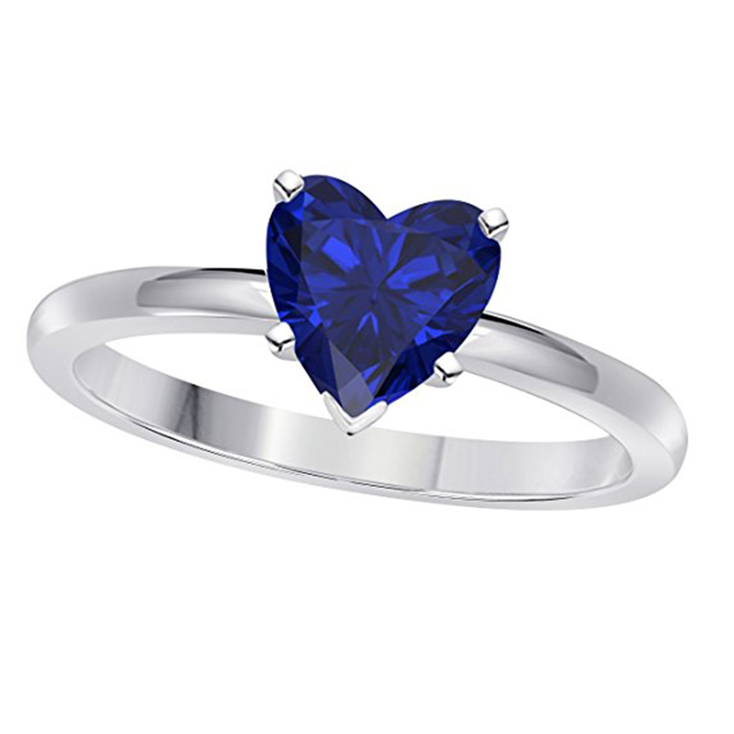 Suhana Jewellery 14K White Gold Fn Alloy Heart Shape Blue /& Simulated Diamond Studded Engagement Wedding Ring