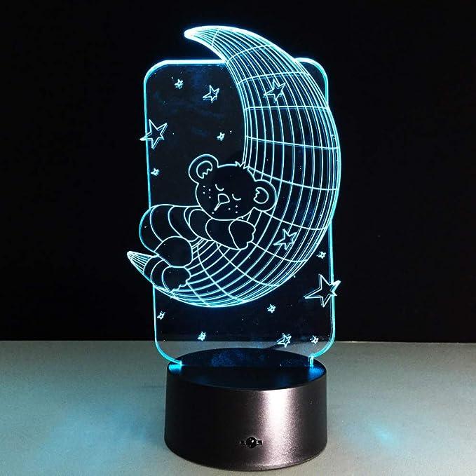 KangYD Moon Bear 3D Visual Night Light, Lámpara De Mesa LED ...