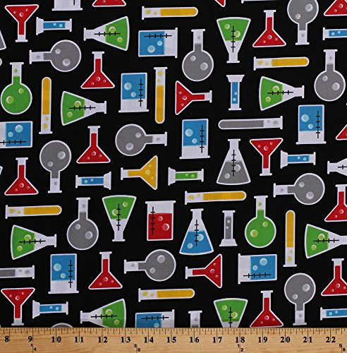 Cotton Science Lab Laboratory Equipment Beakers Flasks Test Tubes Chemistry Science Fair Black Cotton Fabric Print by the Yard (AIB-14738-205MULTI)