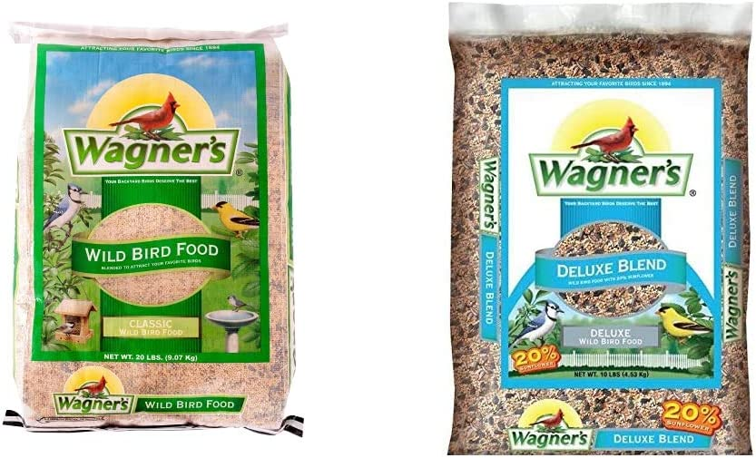 Wagner's 52004 Classic Wild Bird Food, 20-Pound Bag & 13008 Deluxe Wild Bird Food, 10-Pound Bag, Basic
