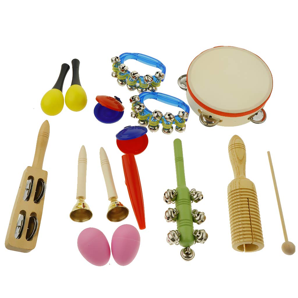 kesoto 16pcs Toddler Musical Instrument Toy Set, Tambourine & Maracas & Crow Sounder and More for Kids Children Music Party Toy by kesoto (Image #10)